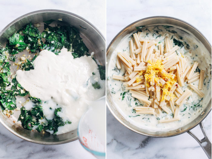Lemon Cream Pasta with Spinach- made with a comforting dairy-free sauce, this creamy pasta is as easy as it is delicious. Less than 10 ingredients + 30 minutes to make!