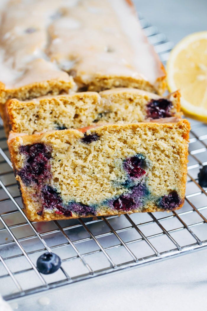 Blueberry Lemon Yogurt Bread- made with a nutritious combination of oat and almond flour, this bread is naturally sweetened and infused with bright citrus flavor! (gluten-free)