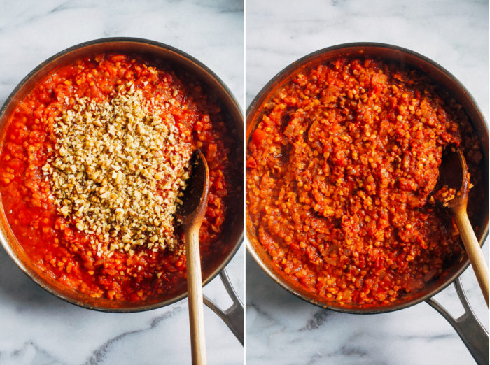 Easy Vegan Red Lentil Bolognese- red lentils and walnuts makes for a hearty sauce that's packed full of protein, iron and heart healthy omega-3s. Comes together in just 30 minutes! #glutenfree #plantbased