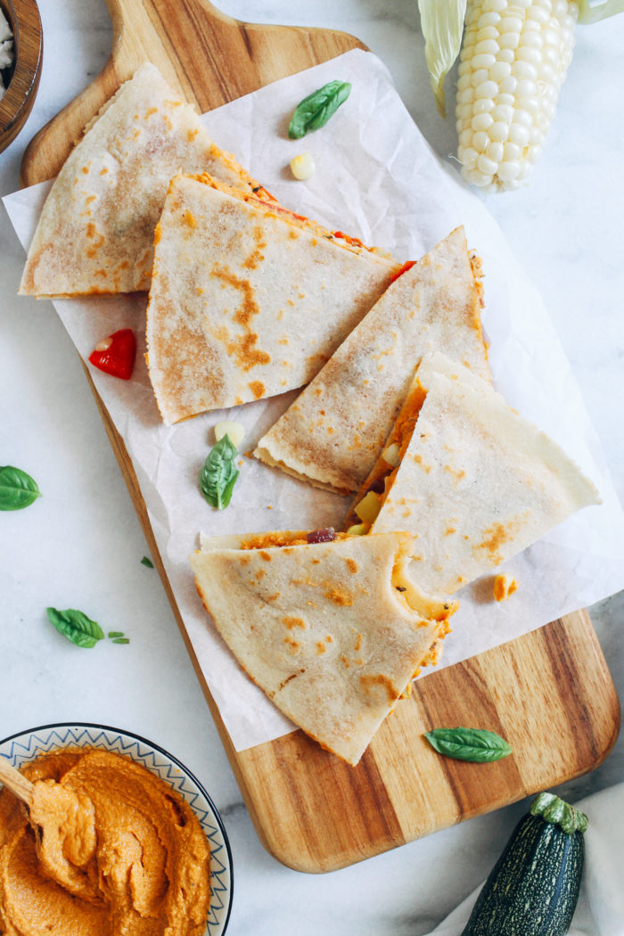 Summer Vegetable Hummus Quesadillas- made with zucchini, corn, and bell pepper, these quesadillas are the perfect quick and easy summer meal!