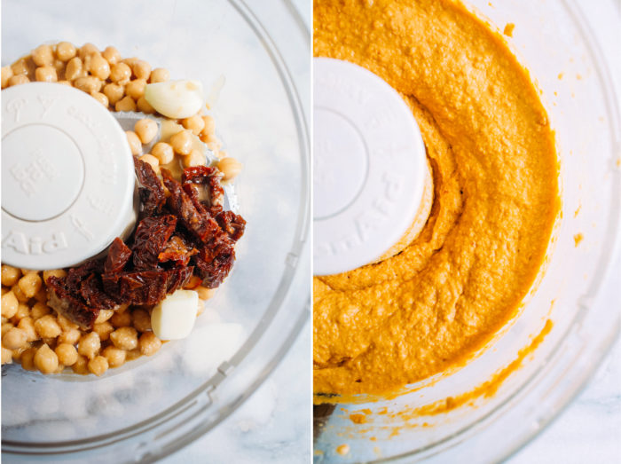 Sundried Tomato Hummus- all you need is 6 ingredients and 10 minutes to make this creamy, umami filled hummus that can be used for a variety of dishes or enjoyed all on it's own!