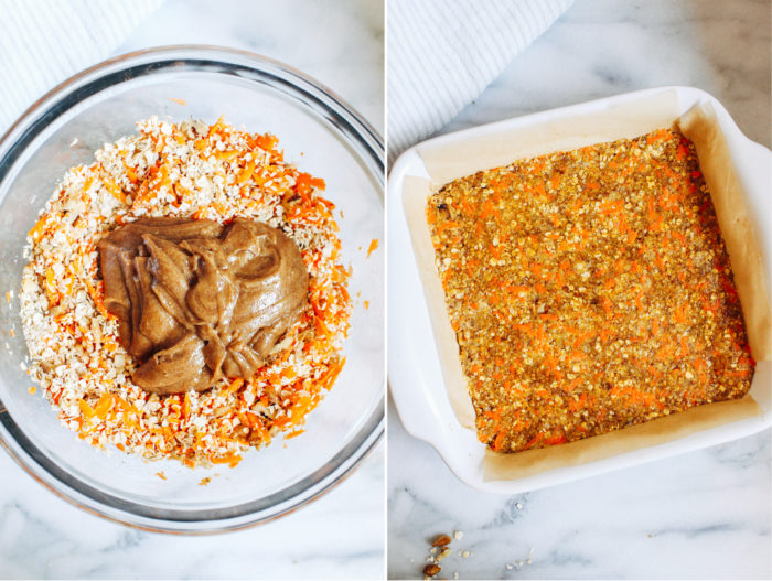 Healthy No Bake Carrot Cake Bars- made with wholesome ingredients and naturally sweetened, you'll be shocked at how much these taste like a slice of carrot cake! (gluten-free, vegan + oil-free)