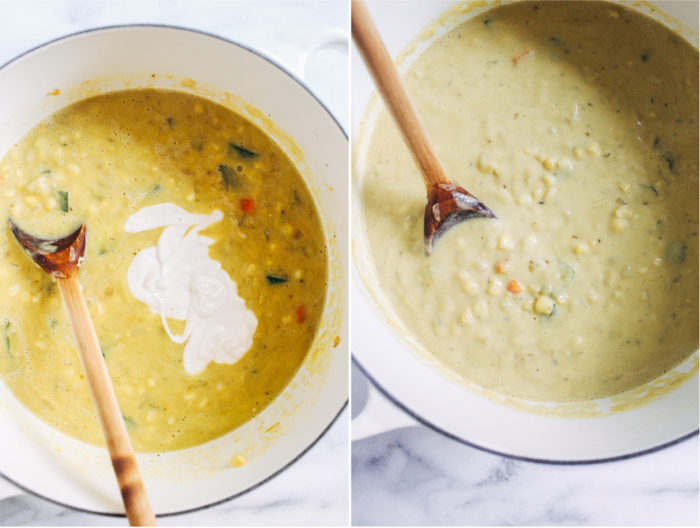 Dairy-free Zucchini Corn Chowder- So creamy and satisfying, you would never guess this veggie packed corn chowder is dairy-free. Just 10 ingredients to make! (vegan + gluten-free)