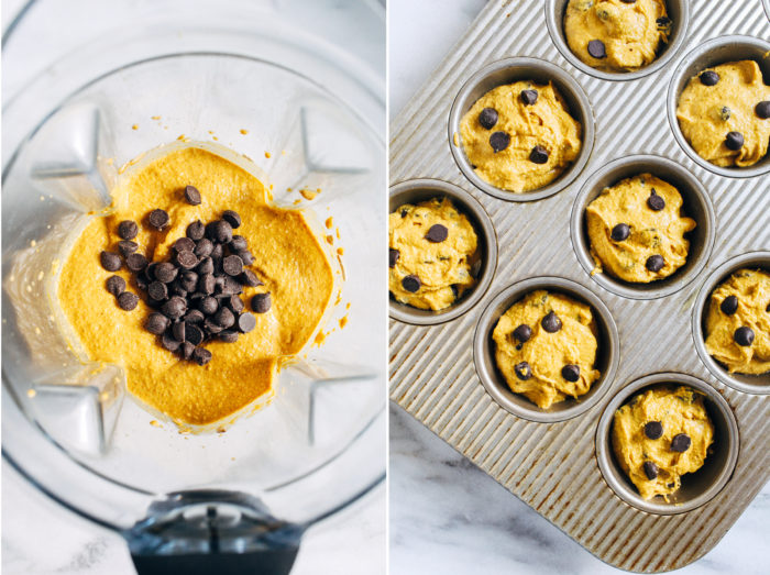 Vegan Pumpkin Blender Muffins- made with whole grain oats, these easy pumpkin muffins make for the perfect healthy treat! (gluten-free, oil-free and refined sugar-free)