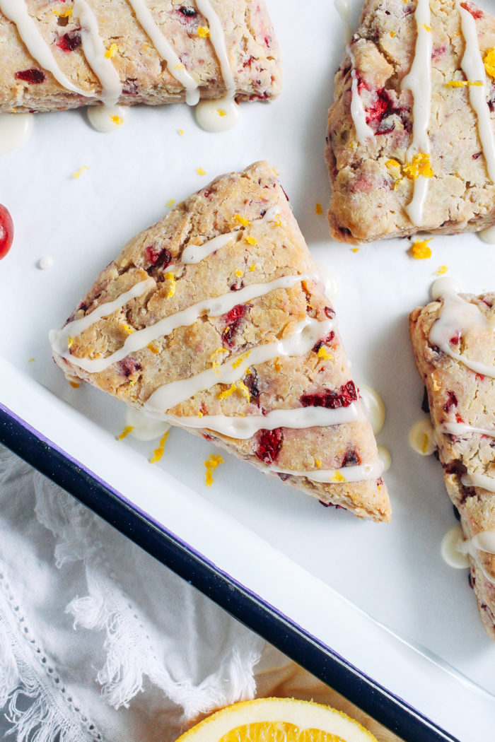 Gluten-free Cranberry Orange Scones- made with fresh cranberries and fragrant orange zest, these naturally sweetened vegan scones are bursting with flavor!