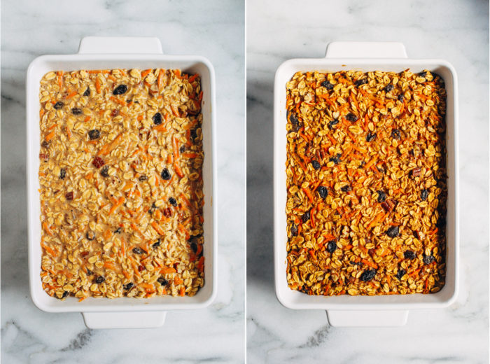 Carrot Cake Baked Oatmeal- a nutritious option for breakfast or brunch that's easy to make and tastes just like carrot cake! (gluten-free + oil-free with vegan option)