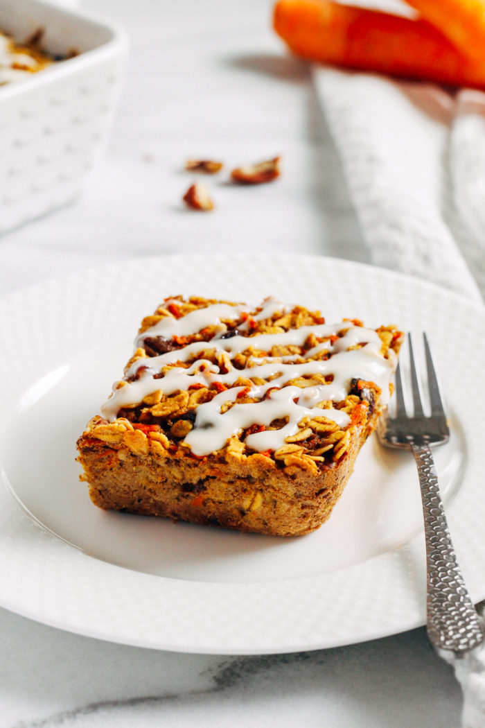Carrot Cake Baked Oatmeal- a nutritious option for breakfast or brunch that's easy to make and tastes just like carrot cake! (gluten-free with vegan option)
