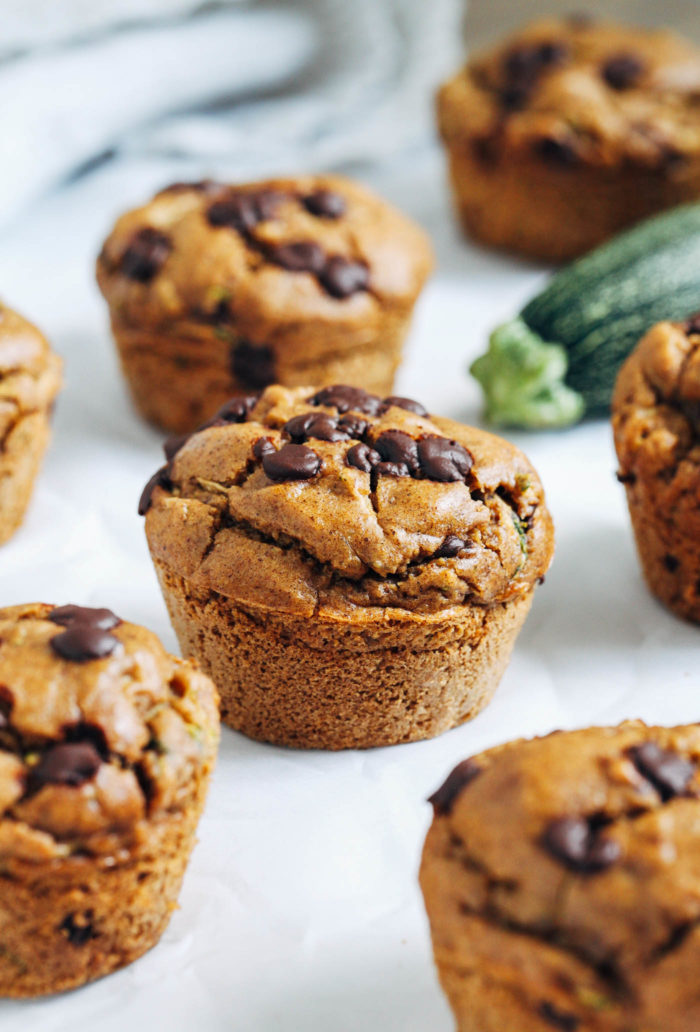 Vegan Blender Zucchini Muffins- made with mostly pantry ingredients, these muffins are a delicious and healthy way to use up extra zucchini! (gluten-free)
