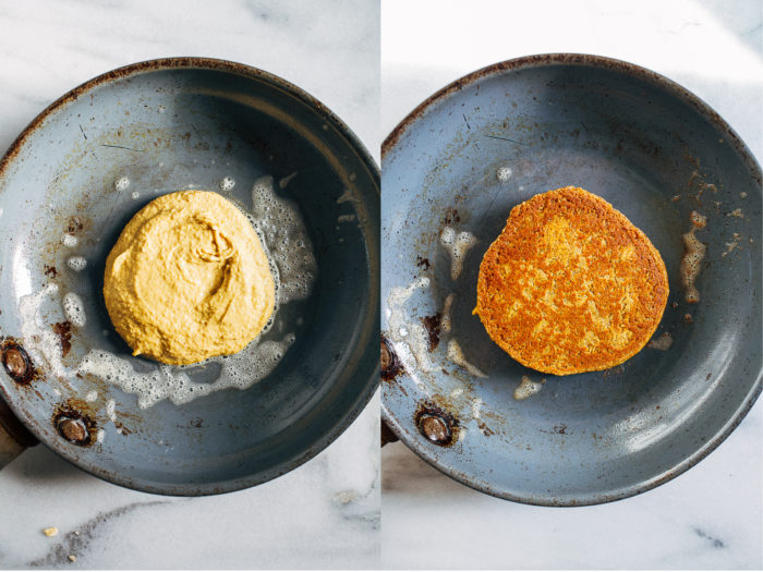 Vegan Gluten-free Pumpkin Pancakes- Made with wholesome ingredients, these pancakes come together fast in the blender and are full of delicious pumpkin flavor.