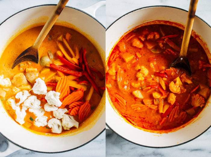 Vegan Thai Pumpkin Curry- made in one-pot, this veggie packed curry is a great way to use up left over pumpkin puree. Served with rice and/ortofu, it's the perfect comforting vegan meal!